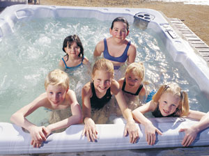 Kids enjoying a Hot Tub